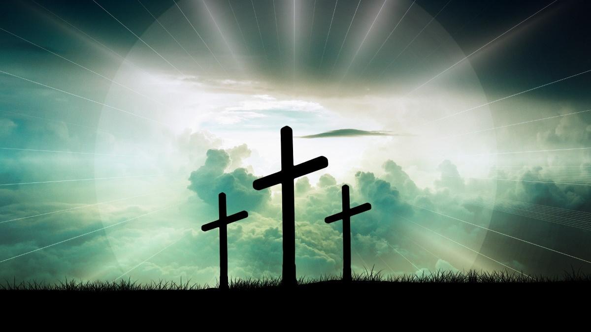 Three crosses representing crucifixion of Christ