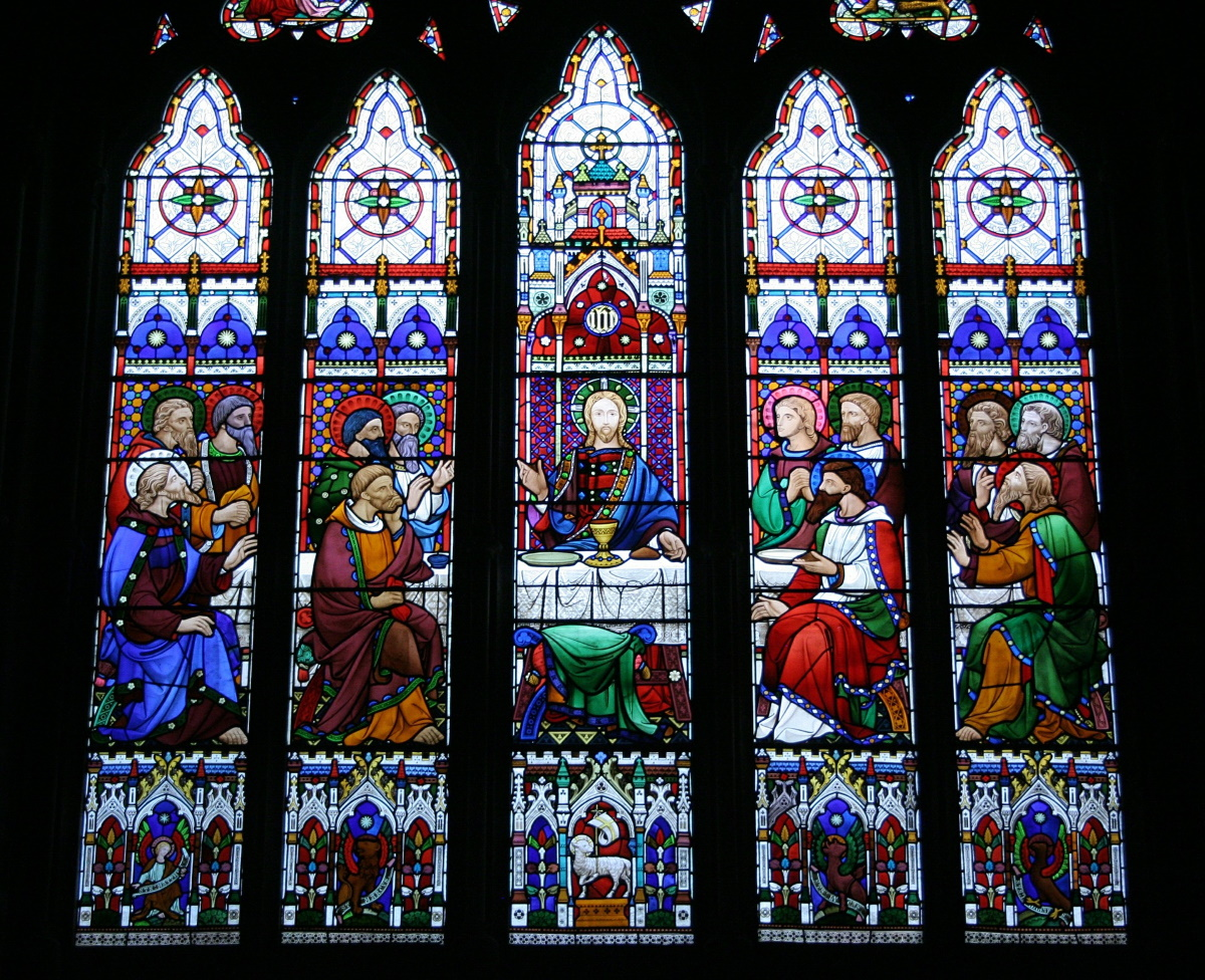 Stained Glass Depiction of Last Supper